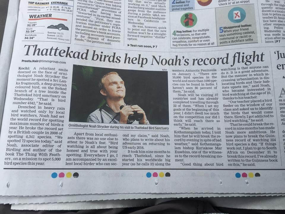 Noah Strycker appears on the front page of Times of India newspaper 9/17/15